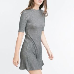 Grey ribbed mini Zara dress fall/winter collection
